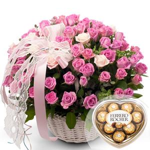 핑크장미100송이+초콜렛포함