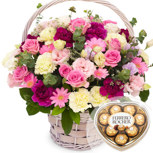 핑크혼합꽃바구니+초콜릿무료증정