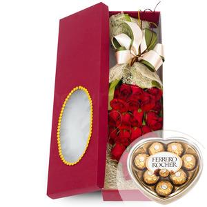 장미사각꽃상자 2호(초콜렛무료증정)