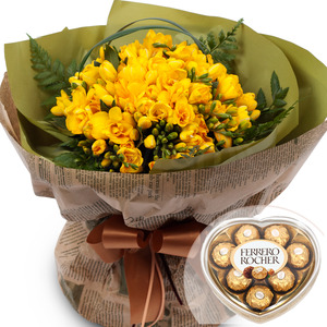 후리지아꽃다발(예약상품)+초콜릿무료증정
